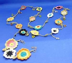 Unique Necklace & Bracelet Set Crochet Flowers Beads Colorful