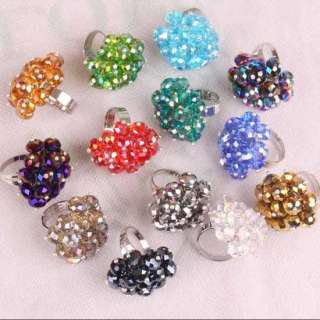 Wholesale Crystal Glass Faceted Beads Finger Ring Size 7 10