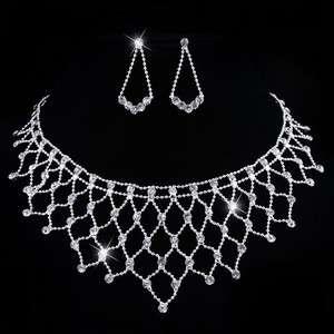 25930 White Gard Rhinestone Crystal Wedding Necklace Chandelier