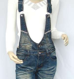 Blue Cow Boy Style Overall Jeans Jumpsuit Pants 1157
