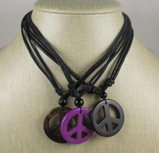 mix color peace sign pendent necklaces//bulk sale/USA seller fast