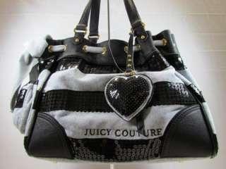 Juicy Couture Black/Gray Sequin Stripe Daydreamer Tote/Handbag/Purse