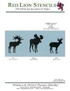 Wild Game Stencil   Silhouettes of Deer, Elk, Moose