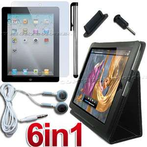ACCESSORY BLACK LEATHER HARD STAND CASE COVER+SCREEN COVER+EARPHONE