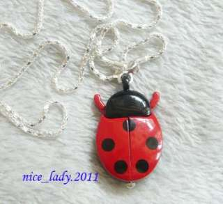 New red ladybug pendant pocket necklace watch