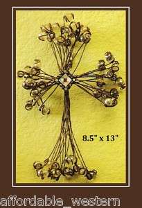 Western Home Decor WIRE WALL ART CROSS AB Crystal Balls 701340359949