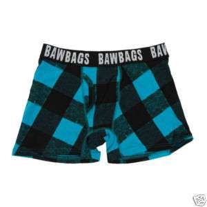 Bawbags Mens Boxer Shorts Blue Plaid Buffalo S M L XL |