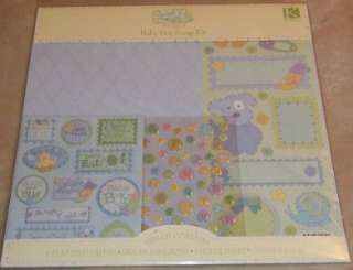 New Baby Boy 12x12 Scrapbook Album Set Paper Stickers card making