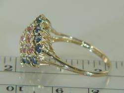 14K Yellow Gold Blue Sapphire & Pink Sapphire Ring 5.1 grams
