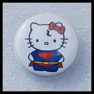 Super Kitty   Hello Kitty   Super Hero Man Comic Button