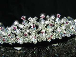 A195 1 Pink Wedding Bridal Bridesmaid Swarovski Crystal Rhinestone
