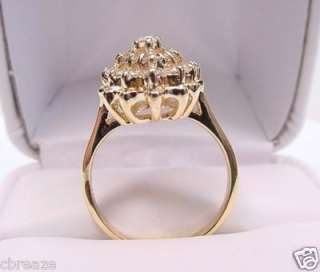 DIAMONDS MARQUISE & ROUND CLUSTER VINTAGE 14K GOLD RING