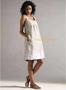 Eileen Fisher Natural Organic Linen Sequin Tank Dress w/ Shirring 10