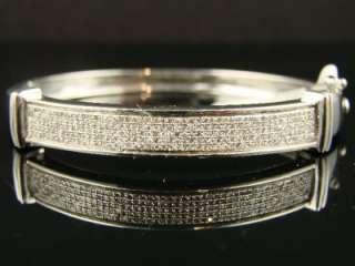 LADIES PAVE ROUND CUT DIAMOND BANGLE BRACELET 1.05 CT
