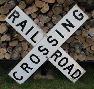 Vintage  Original  Wisconsin RAILROAD CROSSING Sign  Aluminum