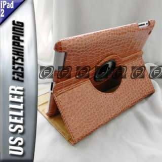 iPad 2 360°Rotating Crocodile Leather Case Smart Cover With Swivel