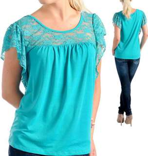 New Womens Cami Shirt Blouse Top w Lace Emerald XL 3XL