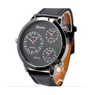 New Three Time Zone Russian Army Military Quartz Sports Leather Mens