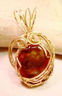 Rolled Gold Mexican Fire Agate Wire Wrap Pendant Handmade #520