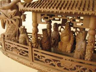 Chinese carved WOOD Dragon SHIP carving myth figure boat men statue