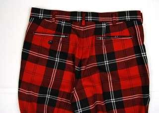 COMME DES GARCONS HOMME PLUS Red Plaid PANTS LARGE NWOT