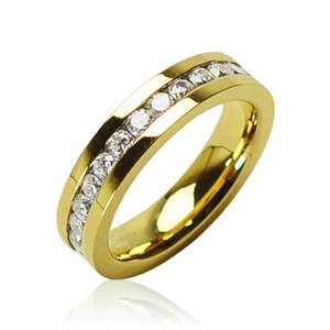 14K Gold over Stainless Steel Eternity Multi CZ Wedding Band Ring Size