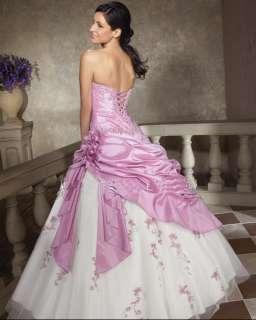 Charm Lilac/white Prom Ball Gown Wedding Dress Stock SZ