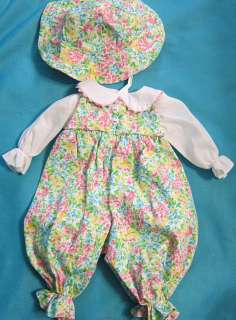 Fits My Twinn Baby Custom made FLORAL ROMPER BLOUSE HAT Set