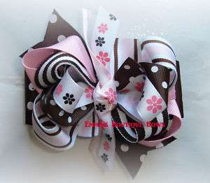Fancy brown and Pink toddler/girls boutique hair bow