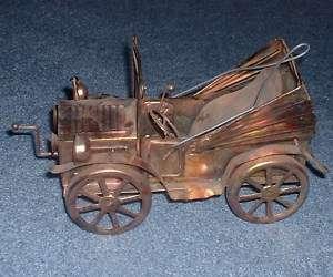 Vintage Antique COPPER CAR AUTO MUSIC BOX wind up ART