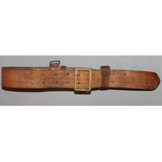 GERMAN WWII WW2 MILITARY OFFICERS LEATHER BELT WITH BRASS BUCKLE AND