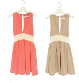 Women Ladys fashion Korean Chiffon skirt deep V nect dress Y10872 2