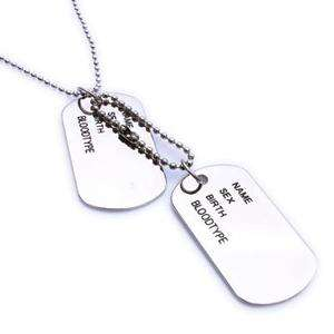 Army Style Cool Silver Name 2 Dog Tag Mens Pendant Necklace P403