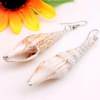 Natural White Sea Shell Beads Silver Line Dangling Hoop Long Earrings