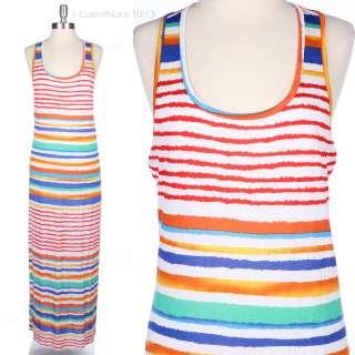 JUNIOR PLUS SIZE] Multi Color Striped Sleeveless Tank Maxi Long Dress
