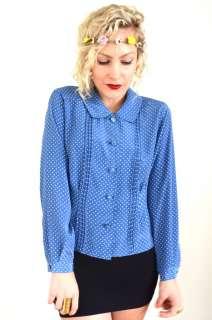 VINTAGE Blue+WHITE POLKA DOT Silky Dress BLOUSE *L