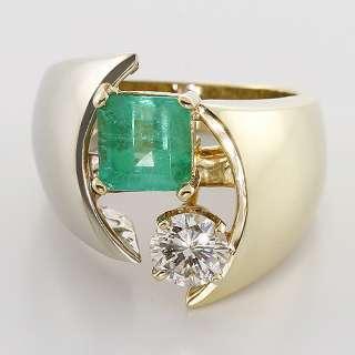 Gorgeous Vintage Diamond Green Emerald 14K Yellow White Gold Fashion
