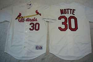 St Louis Cardinals JASON MOTTE SEWN Baseball Jersey WHITE NEW
