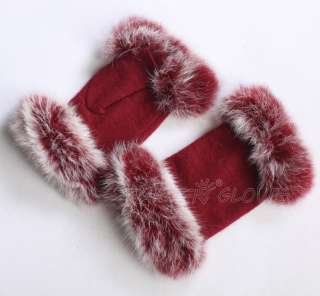 Womens Stretch knit winter warmer wool rabbit fur fingerless gloves
