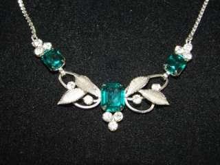 Vintage Van Dell sterling silver emerald green rhinestone necklace