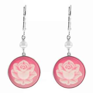 Sterling Silver Pink Flower Cameo Lever Back Earrings With Natural