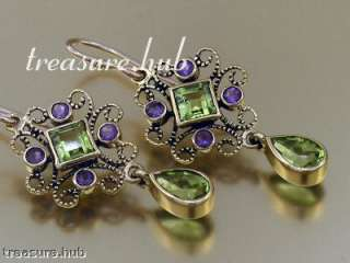 Elegant 9ct Solid Gold NATURAL Peridot & Amethyst Drop Earrings