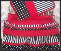 New crib bedding set BLACK POLKA DOTS STRIPES w/ RED