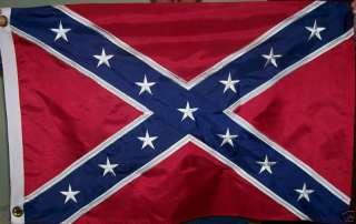 NYLON CONFEDERATE FLAG   EMBROIDERED STARS   REBEL   DIXIE   CIVIL WAR