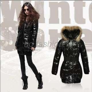 Neuf Femme FUR hiver Longue Doudoune épais Ceinture Veste Manteau
