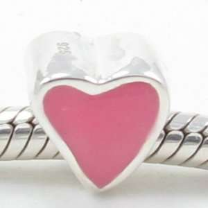 ) Solid Silver Valentines Day Gift Pink Heart Pure Love