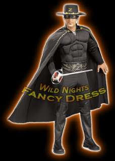 FANCY DRESS COSTUME ~ DELUXE MUSCLE CHEST ZORRO XL