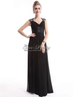 Ruffles Black Chiffon Sequins Empire Line Trailing Evening Gown 09672