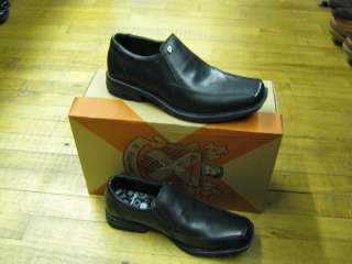 MENS BEN SHERMAN BLACK LEATHER SLIP ON SHOES UK 7