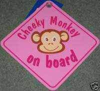 BRAND NEW CHEEKY MONKEY ON BOARD SIGN IN PINK